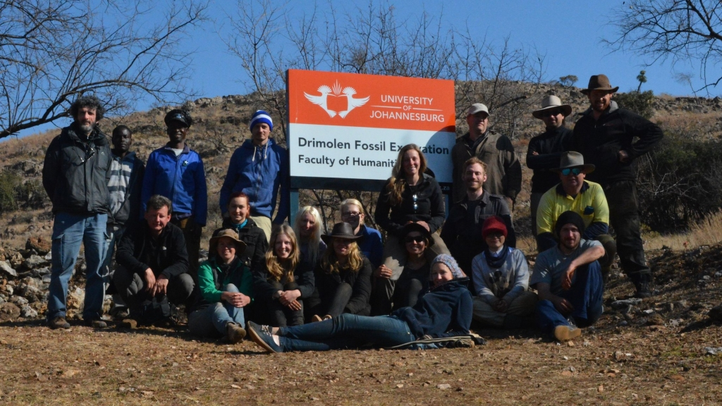 Students and Staff of the 2014 Field School at the Drimolen hominin site, S. Africa
