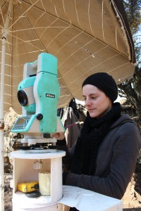 LTU student learning to survey with a total station